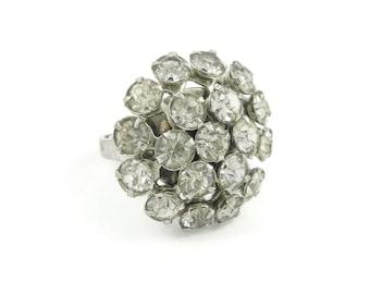 Vintage Rhinestone, Cluster Ring, Silver Tone, Adjustable