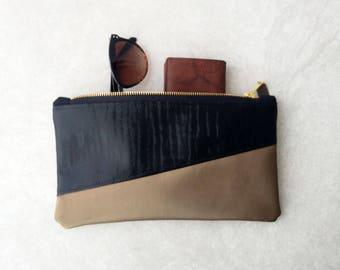 Metallic Black and Bronze Makeup Bag