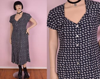 80s Navy and White Umbrella Print Button Down Dress/ US 12/ 1980s