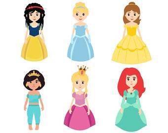 SALE!!! Little Princess Clipatr Set. Princess Clip Art Set. Princess Images PNG Scrapbooking Invitations Printable Graphic instant download