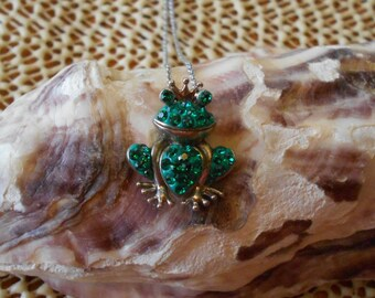 """Frog Prince Green Crystals 925 Sterling Silver Pendant 18"""" Necklace"""