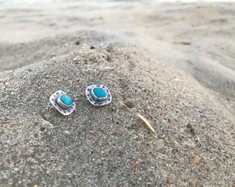 Real Turquoise Earrings | Bohemian Bridesmaid Earrings | Turquoise Stud Earrings | Arrow Jewelry | Arrow Earrings | Bohemian Jewelry