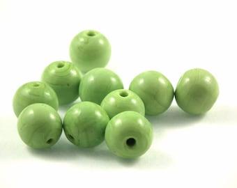 X 10 Green 12mm glass Pearl