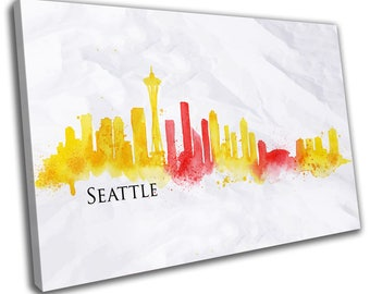 Watercolour Seattle Skyline Cityscape Canvas Print Home Decor- Abstract Wall Art - Modern Prints - Ready To Hang