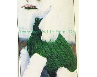 Button Dog Sweater Knitting Pattern Instructions 70s Dog Sweater - PDF Instant Download - Puppy Coat Sweater Pattern - Digital Pattern - Vtg