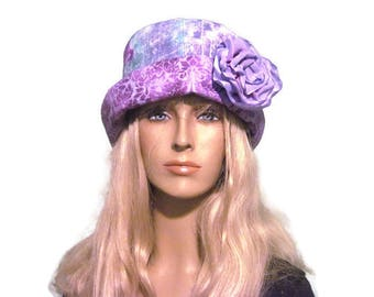Cloche Print Hat Lavender Blue Print Hand painted Brim Flower Trim Cloche Bucket Hat
