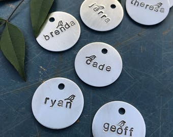 Hand stamped name tag, Name charm