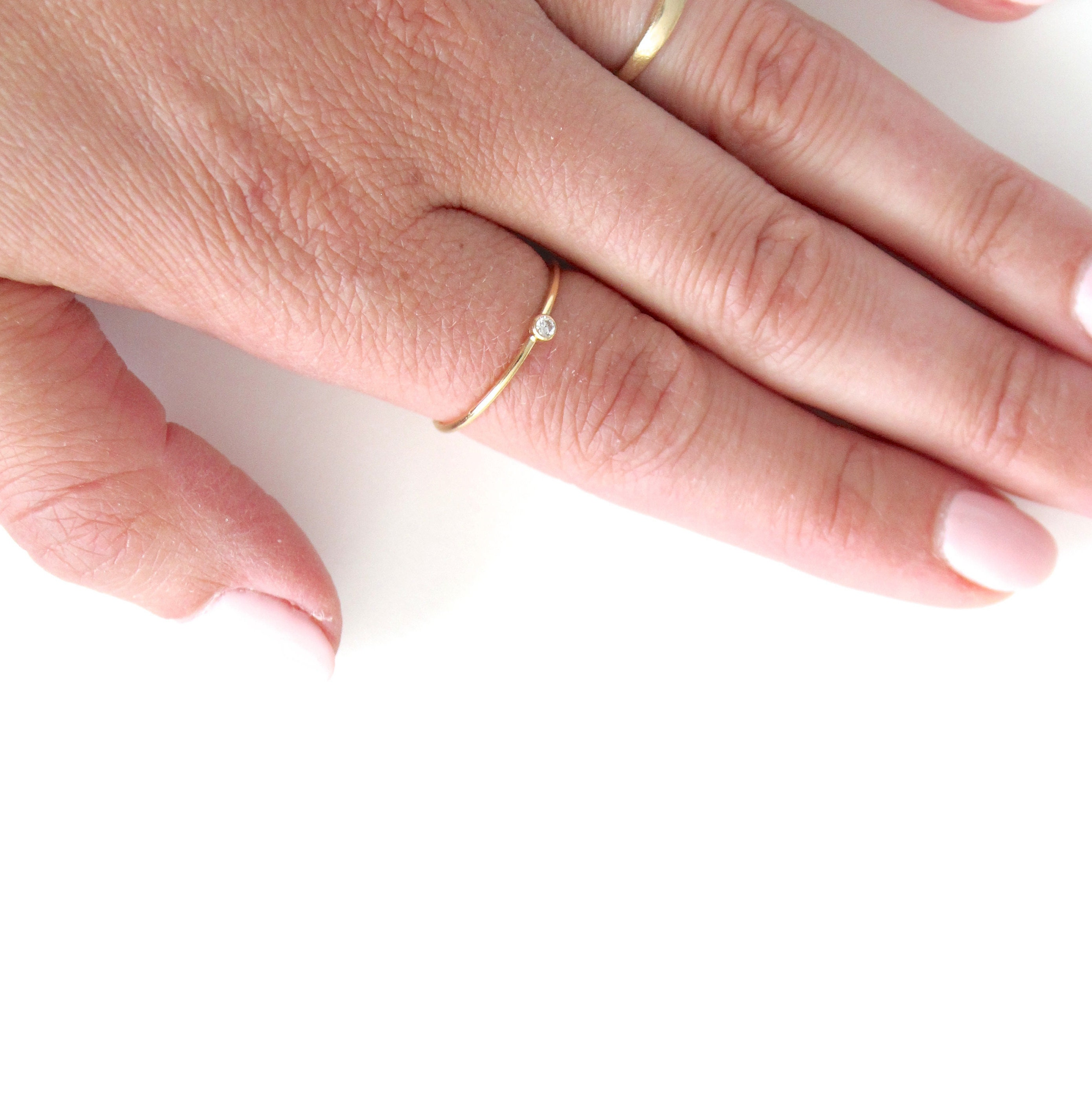 Mini Stacking CZ Ring Dainty Stacking Gold Filled Rings