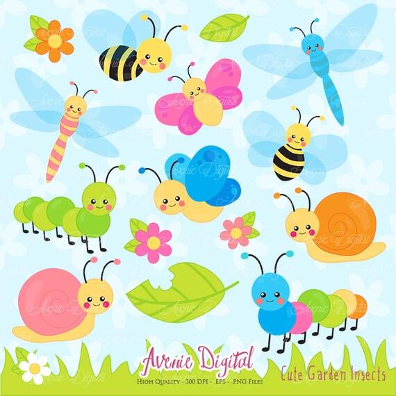 Cute Garden bugs Clipart. Scrapbook printable Insect Clip Art