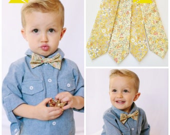 Yellow Kids Tie, Liberty of London Bow Tie, yellow children's tie, little boys bow tie, mustard, toddler bow tie, ring bearer bow tie