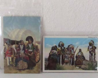 2 Vintage Native American Postcards, unused