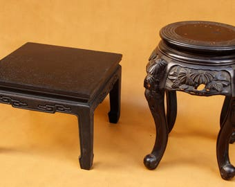 Lot of Vintage Chinese Hand Carved Seat andAntique  Ming Style Low Table with Turned Feet and Carving