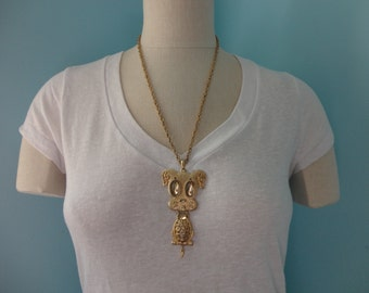 VINTAGE sarah coventry puppy DOG pendant NECKLACE