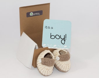 Gender Reveal Gift Box/ Pregnancy Announcement/ Crochet Baby Shoes/ Gifts for grandparents, aunts, uncles and more!