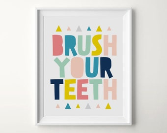 Brush your teeth printable, Kids bathroom decor, Bathroom print, Nursery bathroom, Kids bathroom art, Printable bathroom wall art