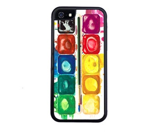Awesome Watercolor Pallete Case Design For iPhone 5/5s, 5c, 6/6s, 6/6s Plus, 7, 7 Plus, 8 or 8 Plus.