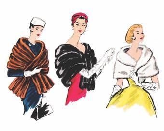 1950s 50s wrap fur stole // vintage sewing pattern reproduction // cape capelet // evening wrap // Pick your size S M L