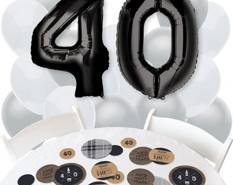 40th Milestone Birthday - Dashingly Aged to Perfection - Balloon Bouquet and Confetti Kit for a Birthday Party