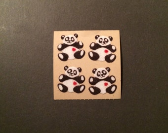 Sandylion vintage 1986 very rare fuzzy brown back panda stickers