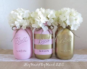 Distressed Mason Jars in Light Pink, Gold Mason Jars, Pink & Gold Stripes, Baby Shower Centerpieces,  Girls Birthday, Bridal Shower
