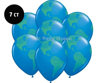 """Planet Earth Balloons [7ct] 11"""" Latex Globe World Outer Space Birthday Party Decorations Supplies Photo Prop"""