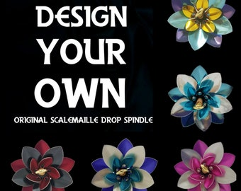 Design your own Scalemaille drop spindle, custom spindle selection, lace weight, drop spindle, scalemail, spindle, top whorl, spinning