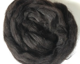 Black Jacob spinning fibre 100g/ 3.5 oz / combed top / natural black fibre / British wool