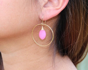 Gifts for Her, Gold Hoop Earrings, Pink Earrings, Gifts For Her