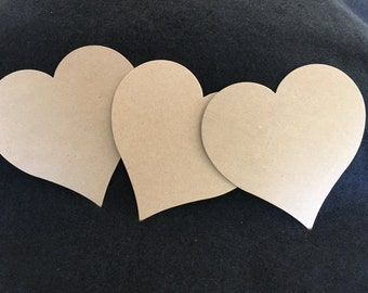 XL Chipboard Heart Die Cuts-Heart Blanks-Unfinished-Decoration-Raw Chipboard Extra Large Heart Shape-Alterable Surface-Mixed Media Base