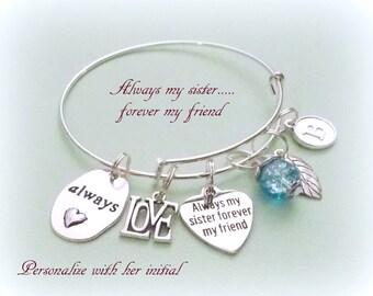 Gift for Sister, Sister Gift, Sister Charm Bracelet, Always My Sister, Forever My Friend, Personalized Gift, Gift for Sister, Gift for Her