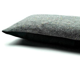 Decorative Oblong / Lumbar Throw Pillow Cover Rectangular Cushion Cover Gray Wool Cheviot Tweed