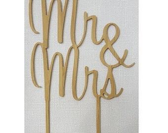 Mr & Mrs Script Cake Topper