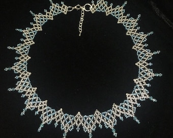 Blue and silver seed bead necklace