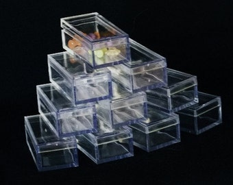 Rectangle Clear Acrylic Bead/Gem Boxes 25 Qty
