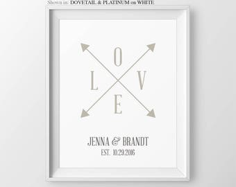 Personalized Engagement Gift For Anniversary Gift For Newlyweds Wedding Gift Couple Gift For Bachlorette Gift Wedding Anniversary Arrows Art