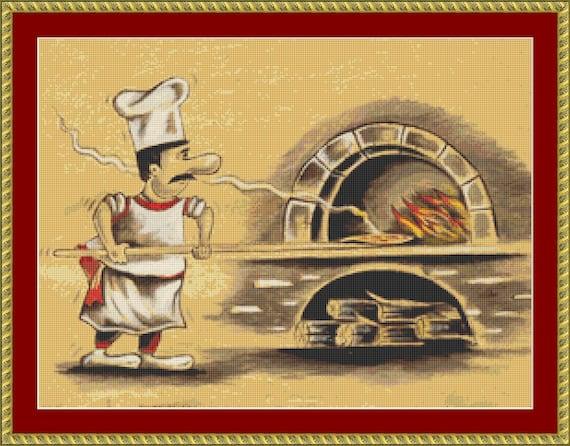 Pizza Maker Cross Stitch Pattern /Digital PDF Files /Instant downloadable