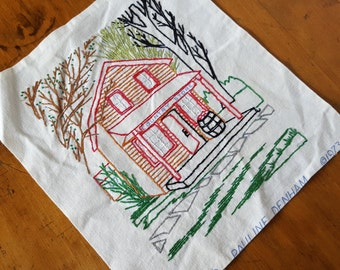Vintage 70s Pauline Denham Country Store Embroidery Finished Farmhouse Cottage Shabby Rustic Cabin Country Decor 6058 1973