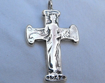 Cross Pendant made from Silver Half Dollar Coin comes with sterling silver chain