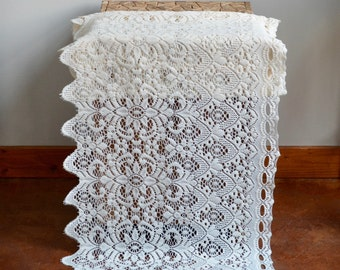 "Vintage Lace Valance // Off White Ivory Lace Valance 68"" x 19"" // Boho Bohemian Farmhouse Country Cottage Curtain Valance"