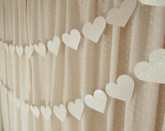 White Heart Garland, Glitter Heart Banner, Bridal Shower Decoration, Wedding Reception Decor, Paper Garland