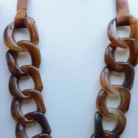 Leather & Resin Statement Necklace