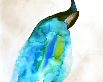 Peacock Painting - Feather - Bird Wall Art Watercolor - Peacock II - Large Print 16x20 - Poster