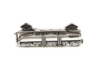 Train Tie Clip, Electric Locomotive Tie Bar, Train Tie Bar, Silver or Antiqued Brass Finishes, Gifts For Dad, Gifts For Husband