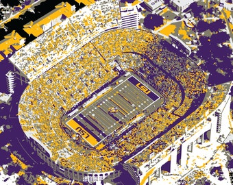 Louisiana State University Tiger Stadium Print, Canvas Print, Mike the Tiger, Man Cave, Father's Day, Graduation Gift, LSU Wall Art