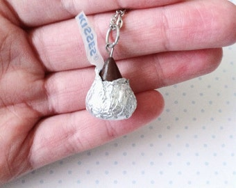 Chocolate Kiss necklace, polymerclay