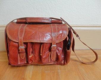 Vintage Leather Duffle Duffel Gym Shoulder Bag Hold All