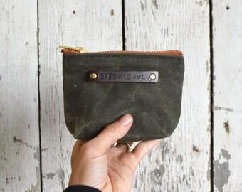 Green Waxed Canvas Pouch, Moss, Zipper pouch, Zipper wallet, Wax Canvas Bag, Birthday Gift, Gift Under 30, Artist Gift, Groomsman Gift PCH6