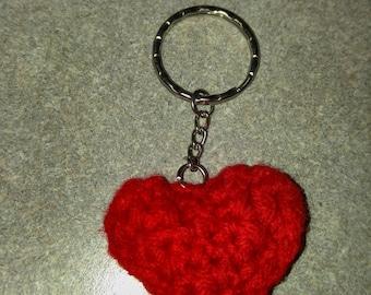 Handmade Crochet Heart Shaped Keychain