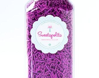 8oz (1 cup) Bright Purple Jimmies Sprinkles, Gluten-Free, Vegan, Skinny Sprinkles, Sugar Strands, Violet Sprinkles, Canadian Sprinkles