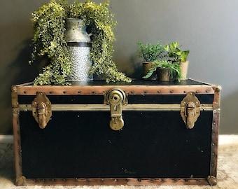 Vintage Steamer Trunk  , Antique black steamer trunk coffee table blanket storage / Vintage coffee table / Antique trunk